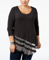 Belldini Plus Size Sequined Asymmetric-Hem Top