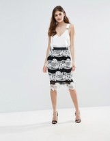 Little Mistress Monochrome Colour Block Lace Skirt