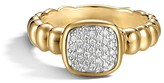 John Hardy Bedeg 18K Gold and Diamond Pavé Square Station Slim Ring