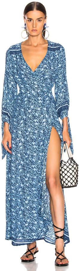 Natalie Martin Danika Long Sleeve Dress in Blue Coral   FWRD