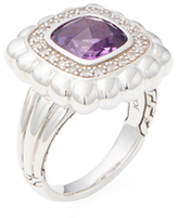 John Hardy Batu Bedeg Amethyst & Diamond Small Square Ring