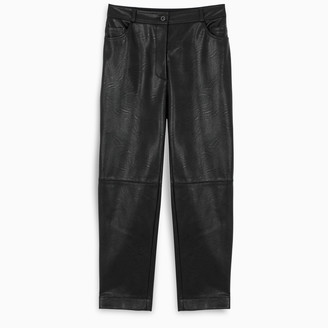 Stella McCartney Black eco leather cropped trousers