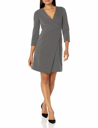 Lark & Ro Women's Three Quarter Sleeve Faux Wrap Short Dress