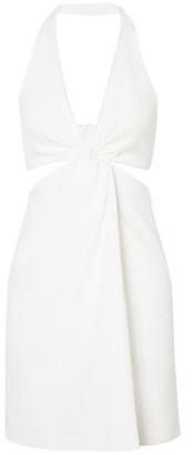 Galvan Eclipse Twist-front Stretch-jersey And Crepe Halterneck Mini Dress