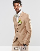 Noak Flannel Wedding Suit Jacket In Super Skinny Fit