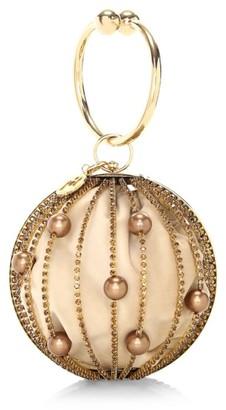 Rosantica Sasha Crystal-Embellished Round Bar Clutch