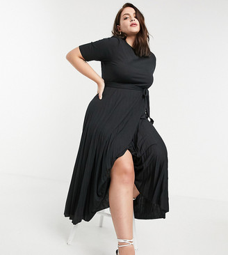 ASOS DESIGN Curve midi belted pleated dress in black