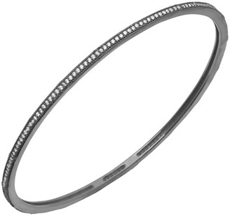 Crislu Stackables Hematite Over Silver Cz Bangle