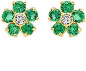 Jennifer Meyer Mini Emerald and Diamond Flower Stud Earrings - Yellow Gold
