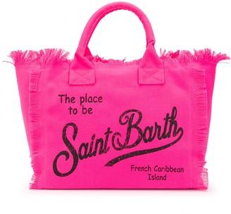 MC2 Saint Barth Logo Print Canvas Beach Bag