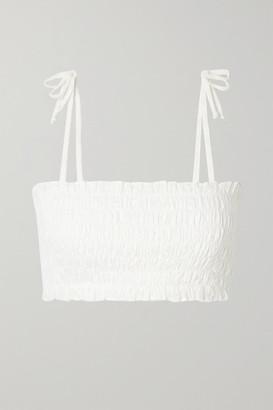 VerdeLimon - Missouri Shirred Broderie Anglaise Cotton Bikini Top - White