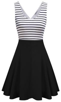 Lintimes New Women's Vest Sleeveless Slim Striped Dress Casual Cute Mini Dress