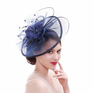 Xiang Ru Large Horse Racing Hat Flax Headwear Weddings Proms Fascinator Headdress Flower for Women Navy Blue