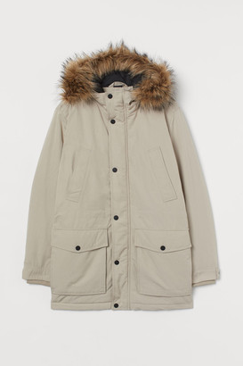 H&M Padded Parka with Hood - Brown