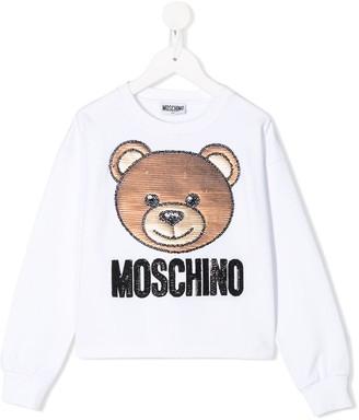 MOSCHINO BAMBINO Sequin Teddy Embroidered Sweatshirt