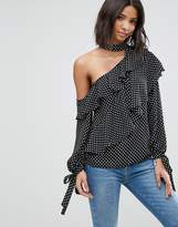 Asos Ruffle Blouse With Exposed Shoulder & Neck Band In Spot
