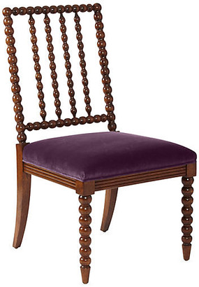 One Kings Lane Barton Spindle Side Chair - Chestnut/Fig Velvet