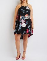 Charlotte Russe Plus Size Floral Bib Neck Shift Dress