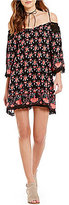 Angie Border Print Off-The-Shoulder Bell-Sleeve Shift Dress