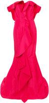 Oscar de la Renta cascading ruffle gown