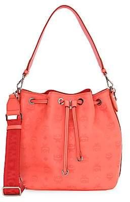 MCM Women's Small Essential Monogram Leather Bucket Bag