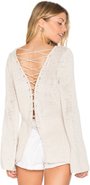 Central Park West Galveston Cross Back Sweater in Beige. - size L (also in M)