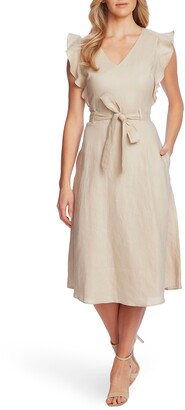CeCe Flutter Sleeve Belted Linen Midi Dress