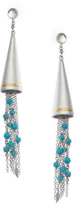 Coomi Vitality Beaded Turquoise Tassel Cone Earrings
