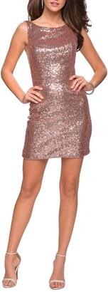 La Femme Sequin Cocktail Dress