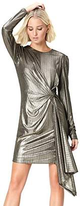 find. Women's Dress with Gathered Metallic Drape, Long Sleeves and Crew Neck,(Manufacturer size: Large)