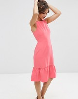 Asos Midi Dress with Structured Frill Hem