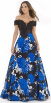 Morrell Maxie Off the Shoulder Jacquard Printed Ball Gown