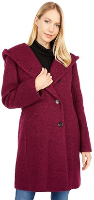 Cole Haan Dropped Shoulder Button Front Sweater Wool Boucle Coat (Magenta) Women's Clothing