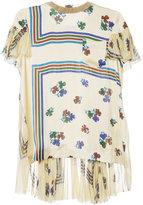 Sacai floral and stripe print T-shirt
