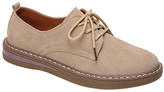 BEIGE Miracle Women's Oxfords  Lace-Up Suede Leather Oxford - Women
