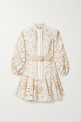 Zimmermann Edie Belted Linen And Cotton-blend Guipure Lace Mini Dress - Ivory