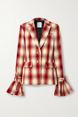 Rosie Assoulin Ruff Cuff Ruffled Checked Wool-twill Blazer - Red