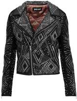 Just Cavalli Crystal-Embellished Suede Biker Jacket