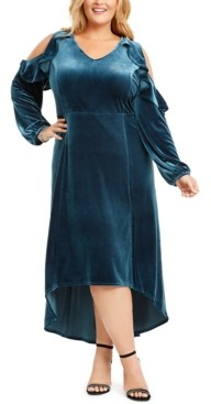 NY Collection Plus Size Velvet Ruffled High-Low Maxi Dress