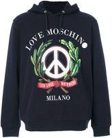 Love Moschino We Trust print hoodie - men - Cotton/Spandex/Elastane - XS