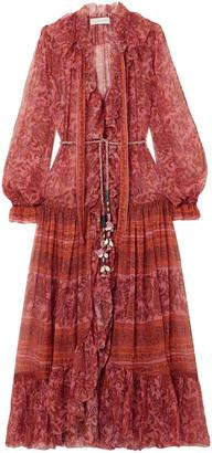 Zimmermann Edie Embellished Printed Silk-chiffon Maxi Dress
