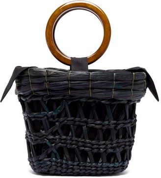 Sensi Bamboo-handle Straw Basket Tote Bag - Womens - Black Multi