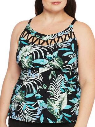 24th & Ocean Plus Size Jungle Tropic High Neck Tankini Top