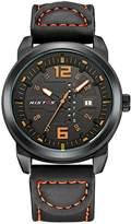 HongBoom New Stainless Steel Sport Watches Men's Leather Belt Quartz Double Calendar Quartz Watch 30M Waterproof
