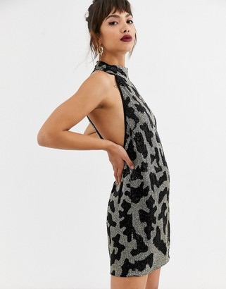 Asos EDITION beaded animal mini halter dress