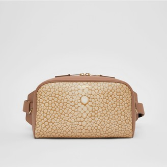 Burberry Fish-scale Print and Leather Cube Bum Bag