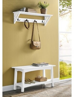 Rosalind Wheeler Lund Hall Tree with Bench and Shoe Storage Color: White