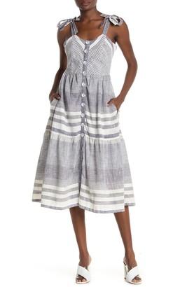 Nostalgia Apparel Stripe Tie Shoulder Strap Midi Dress