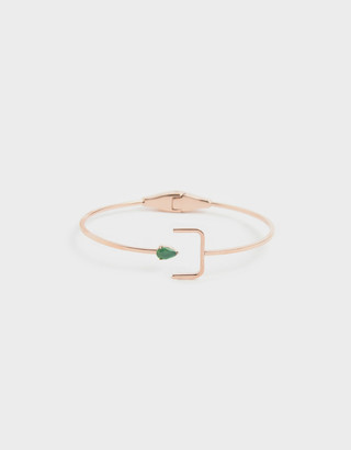 Charles & Keith Green Agate Stone Cuff Bracelet