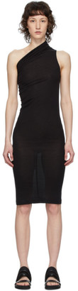 Rick Owens Lilies Black Heavy Jersey One Shoulder Dress